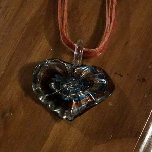 Heart glass necklace. NWOT